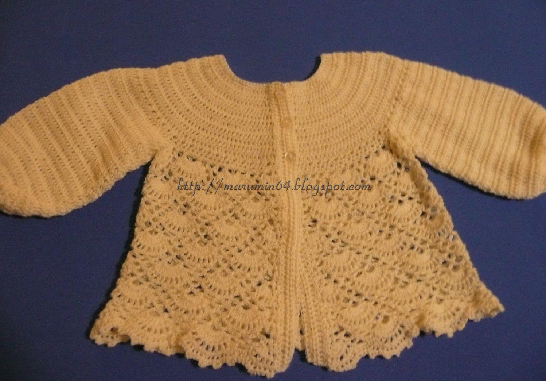 Casaquita hilo conchitas / Shell stitch baby jacket