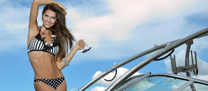 Bikinis verano 2015 lunares y rayes en blanco y negro KSI.