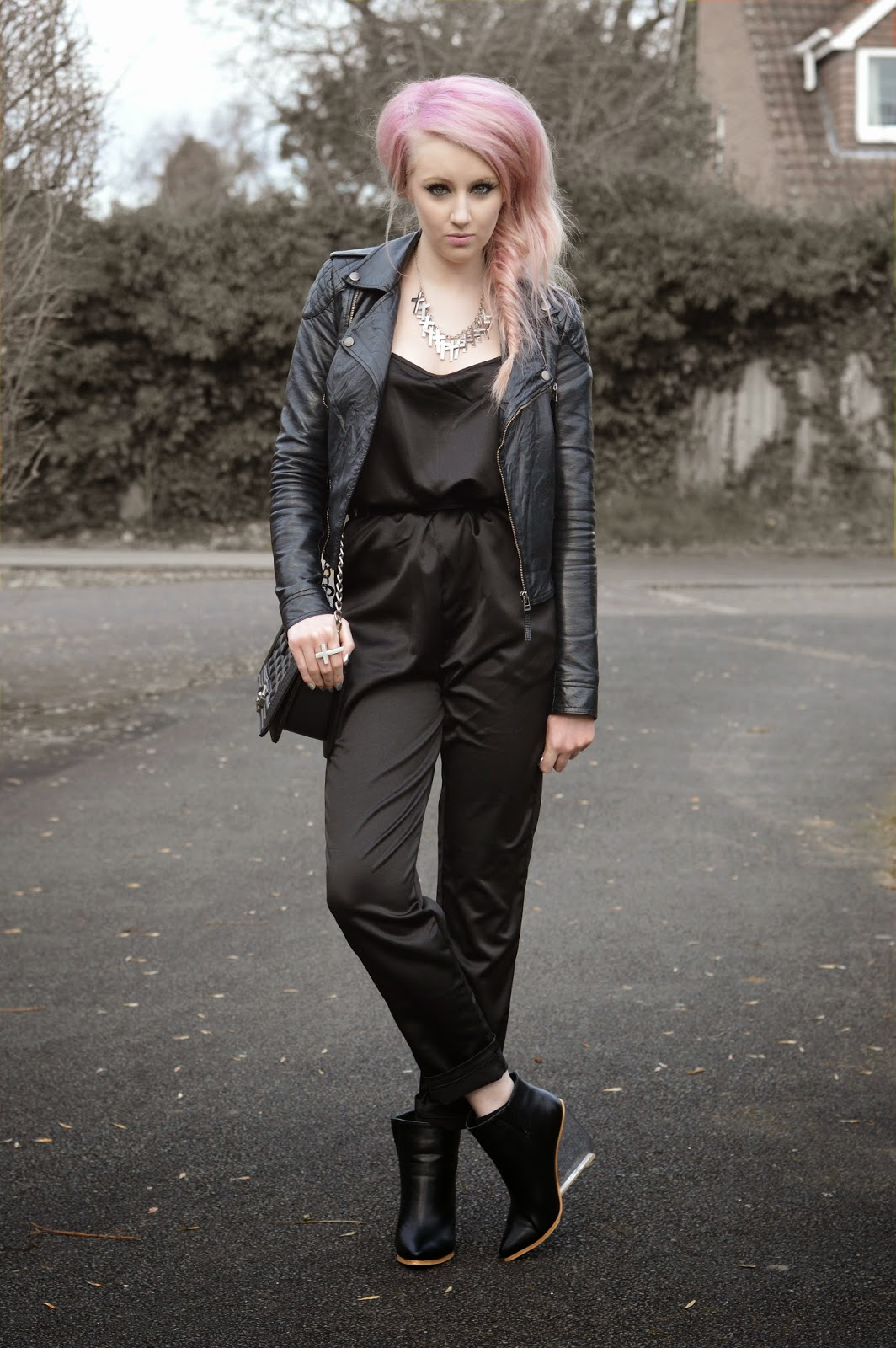 Sammi Jackson - Black Jumpsuit + Perspex Wedges