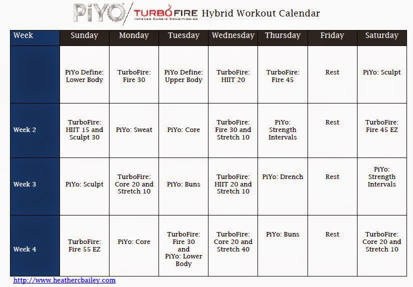 PiYo and TurboFire Hybrid Calendar ~ Hard workin mommie