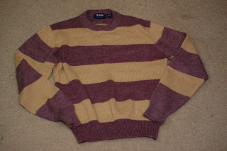 striped sweater to be up-cycled
