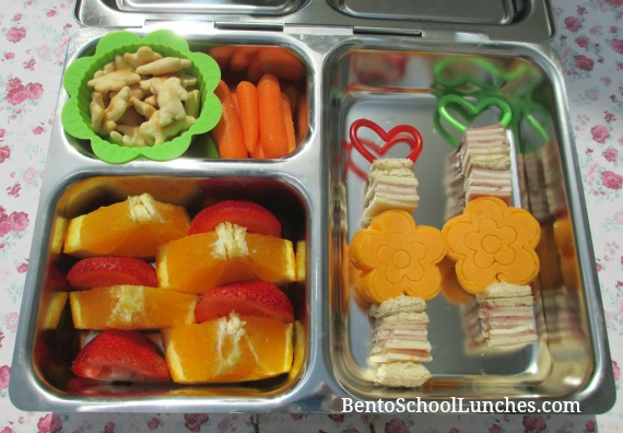 Flower kebabs, fun bites, bento school lunches