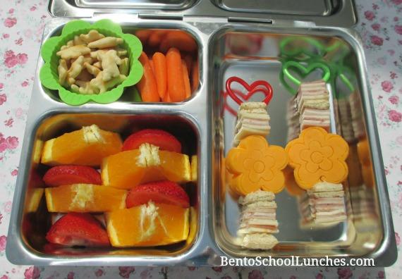 Flower kebabs, fun bites, bento school lunches