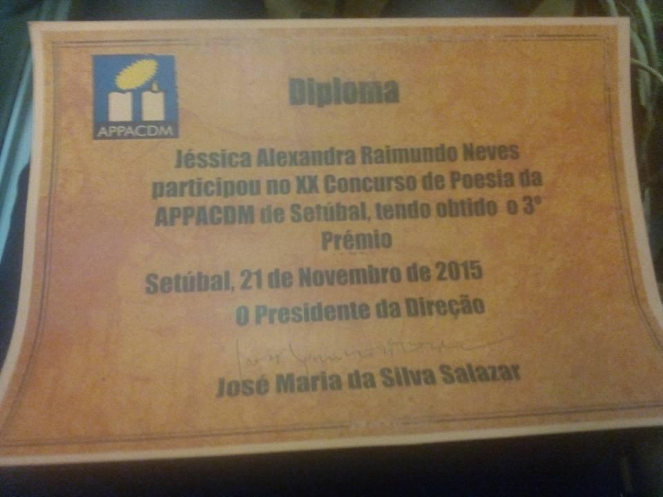 3º PRÉMIO NO XX CONCURSO DE POESIA DA APPACDM DE SETÚBAL (NOVEMBRO 2015)