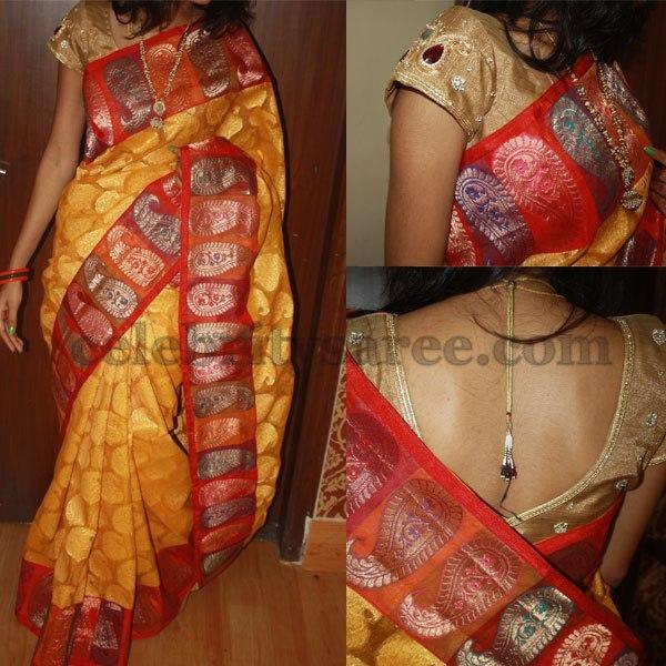 Yellow Jute Banaras Saree