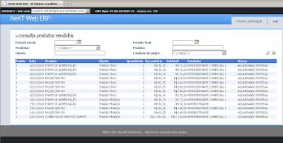 NeXT Web ERP produtos vendidos