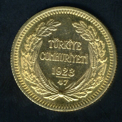 Turkish Gold Coins 100 Kurush Kemal Ataturk Gold Coin , 1923/47.