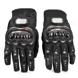 Amazon : Buy Pro Biker Leather Motorcycle Gloves (Black, XL) Water, dirt and oil repellent At Rs.249 only – buytoearn