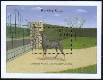 年度不明リベリア共和国 働く犬 ドーベルマンの切手シート