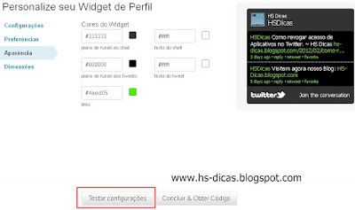 Widget de Perfil do Twitter para seu blog.