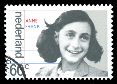 Photo of Anne Frank on a Netherlands stamp