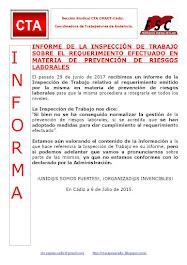 INFORME DE LA INSPECCIÓN DE TRABAJO SOBRE EL REQUERIMIENTO EFECTUADO EN MATERIA DE PREVENCIÓN DE RI