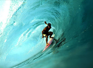 surfing  inside a wave