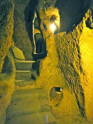 Stairs and caves at Kaymakli Underground City Turkey