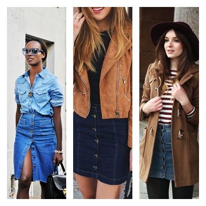 Negra usando look com saia de botão e blusa jeans; conjunto jeans e jeans, casaco amarelo e saia jeans Verão summer 2016