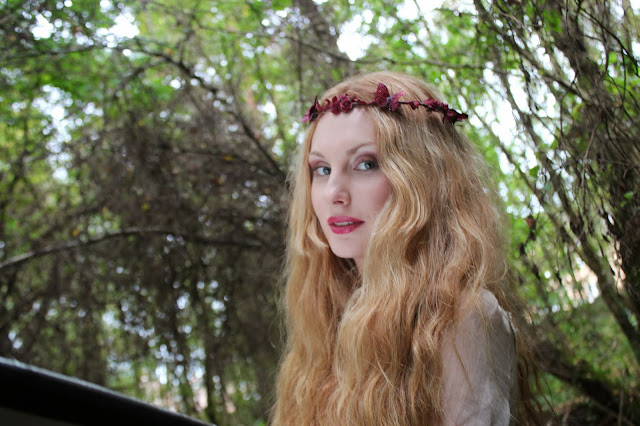 burgundy flower crown