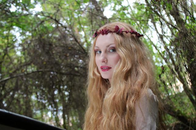 burgundy flower crown