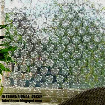making curtains of plastic bottles, beautiful curtains 2015 and simple ideas
