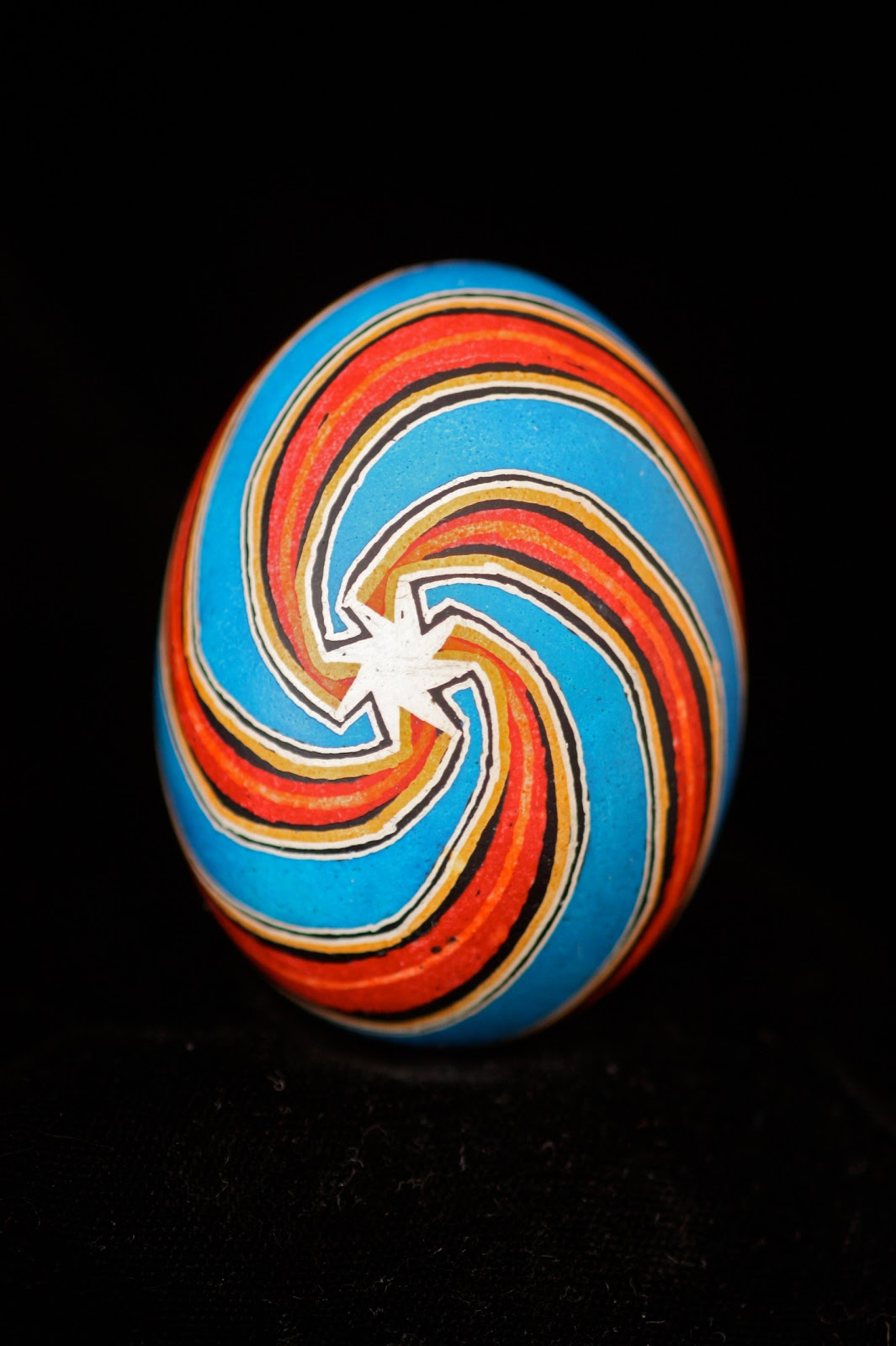 Red and Blue Diagonal Stripes with White Star Center Ukrainian Egg