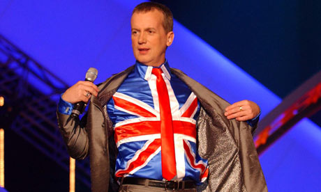 Frank Skinner, the comedian, has accused atheists of threatening humanity.