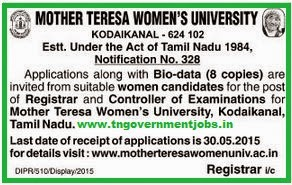 Mother Teresa Women's University Recruitments [www.tngovernmentjobs.in]