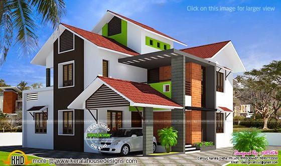contemporary modern slope roof villa