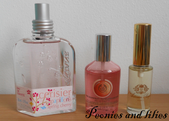 L'occitane spring cherry, The Body Shop pink grapefruit EDT, L'artisan Caligna