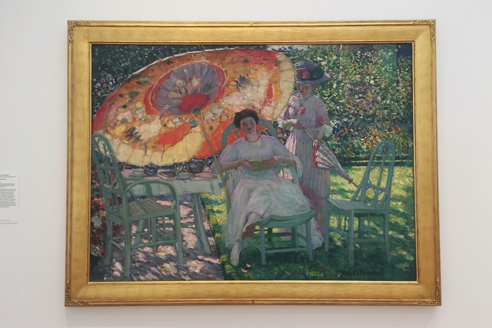 The Garden Parasol, painting, oil on canvas, Frederick Carl Frieseke, North Carolina Museum of Art, NCMA, Raleigh, North Carolina, things to do in Raleigh, things to go in North Carolina, art, art museum
