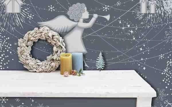 Bożonarodzeniowa naklejka wizerunek anioła z trąbką