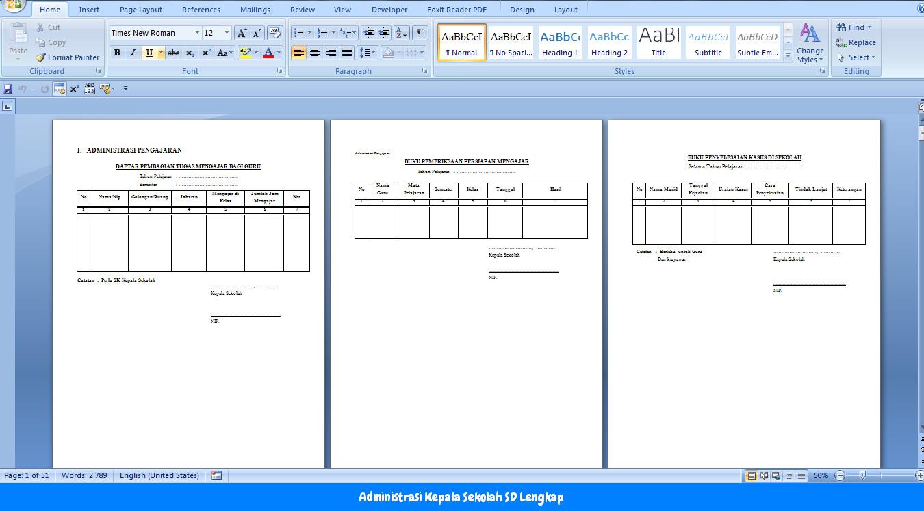 Administrasi Kepala Sekolah Sd Download Lengkap Format Doc Operator Sekolah
