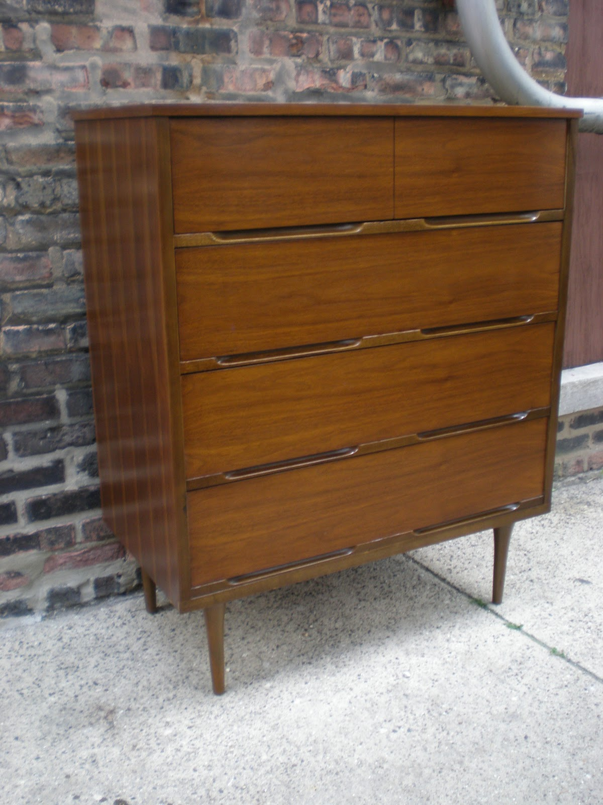 Mid century chicago 4 piece walnut bedroom set highboy for Dresser and nightstand set