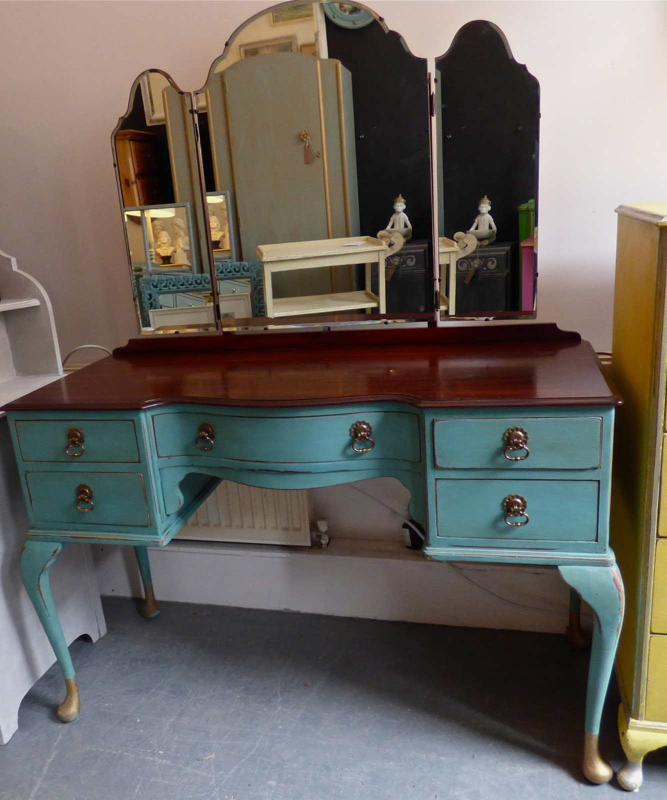 Dressing Table Painted Antique Turquoise