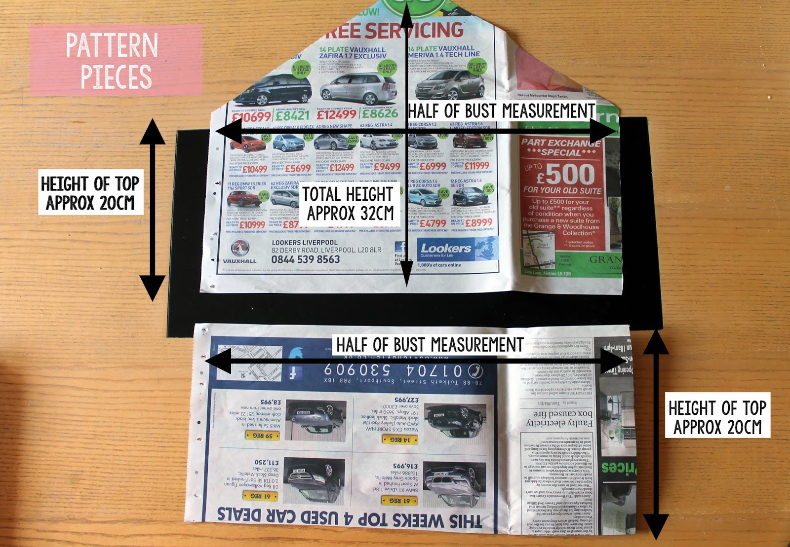 halterneck crop top pattern pieces