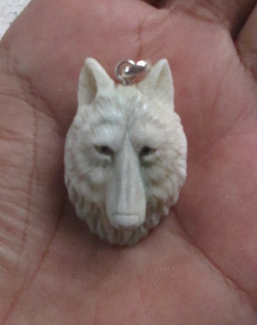 Wolf Head Carved Bone Pendant