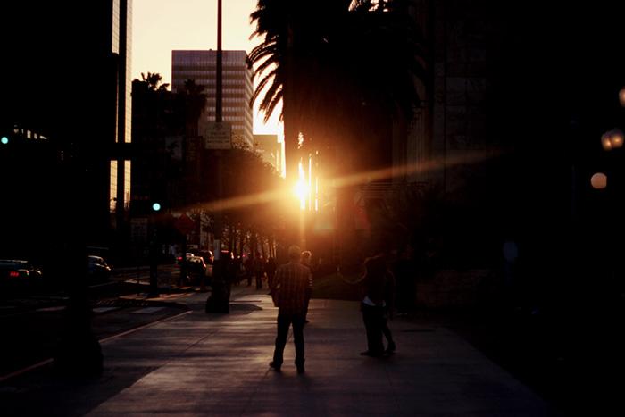Wilshire Boulevard sunset