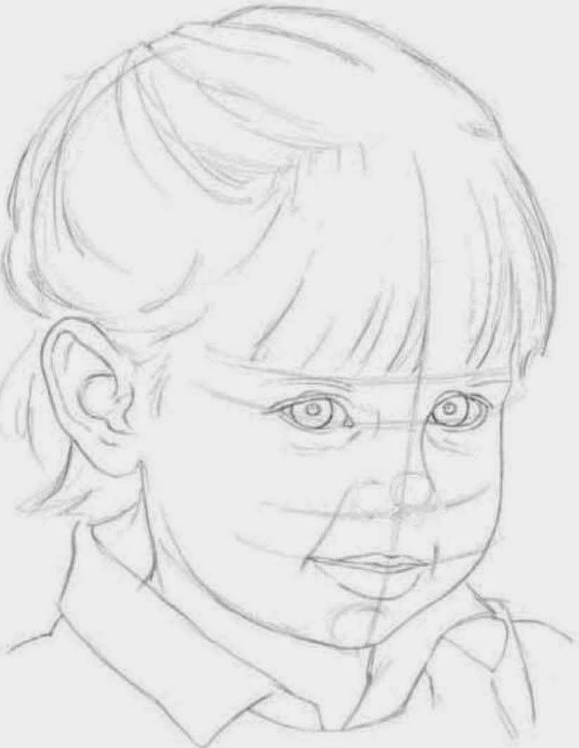 Line Drawing Of Child S Face : Drawings portraying children s features