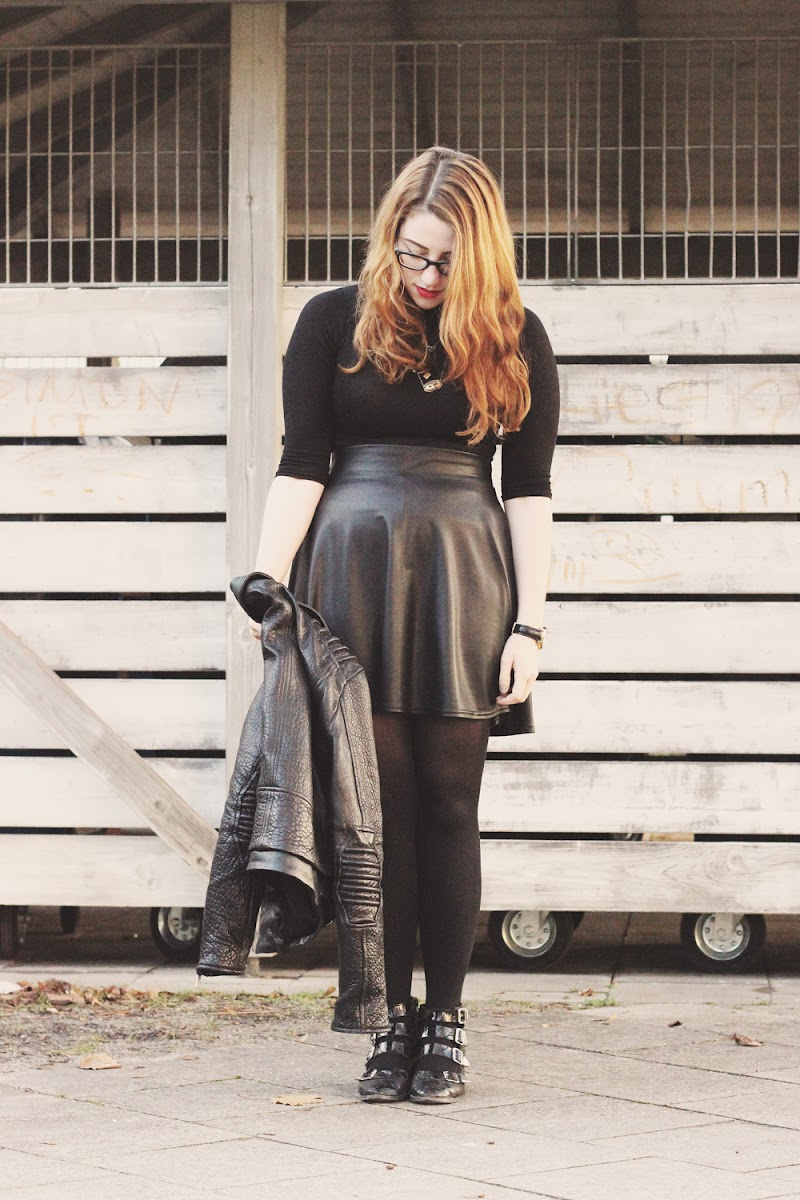 faux leather circle skater skirt