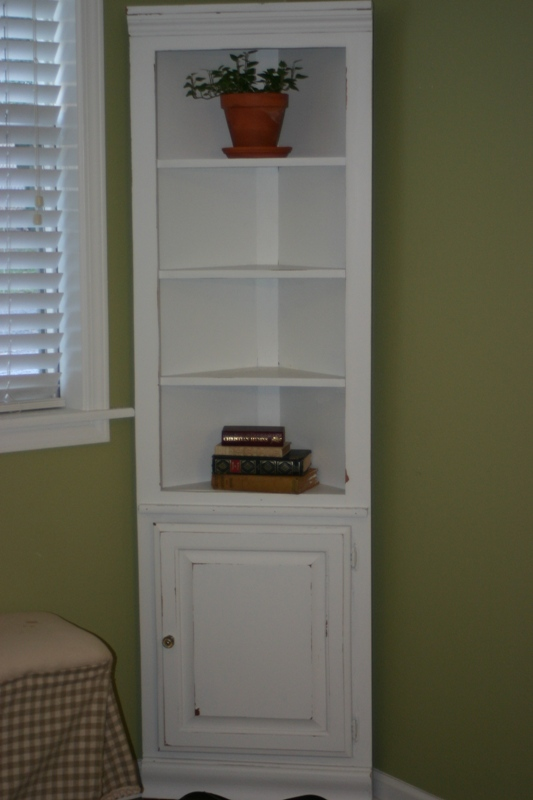 White Corner Shelf Cabinet