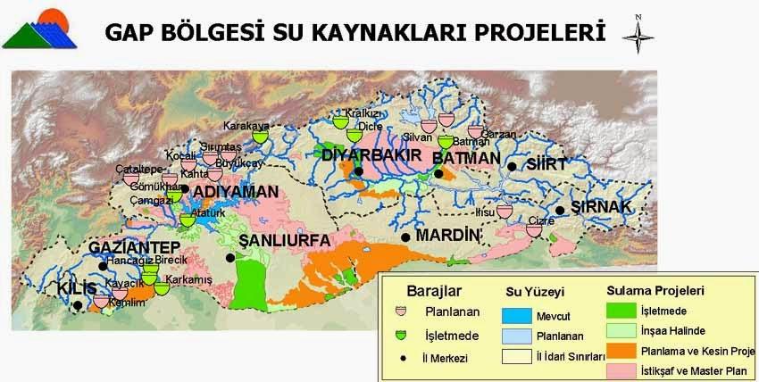 GAP B�lgesi Su Kaynaklar� Projeleri Haritas�