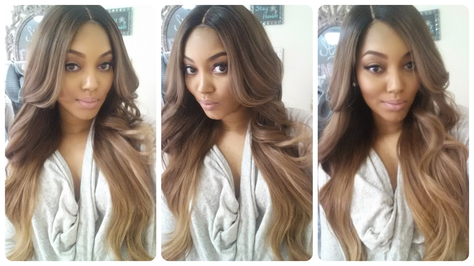 All Things Fabulous 101 BRAND NEW Custom Colored Ash Brown to Medium Ash Blonde Balayage Ombre Hand Sewn Lace Closure Wig +MORE
