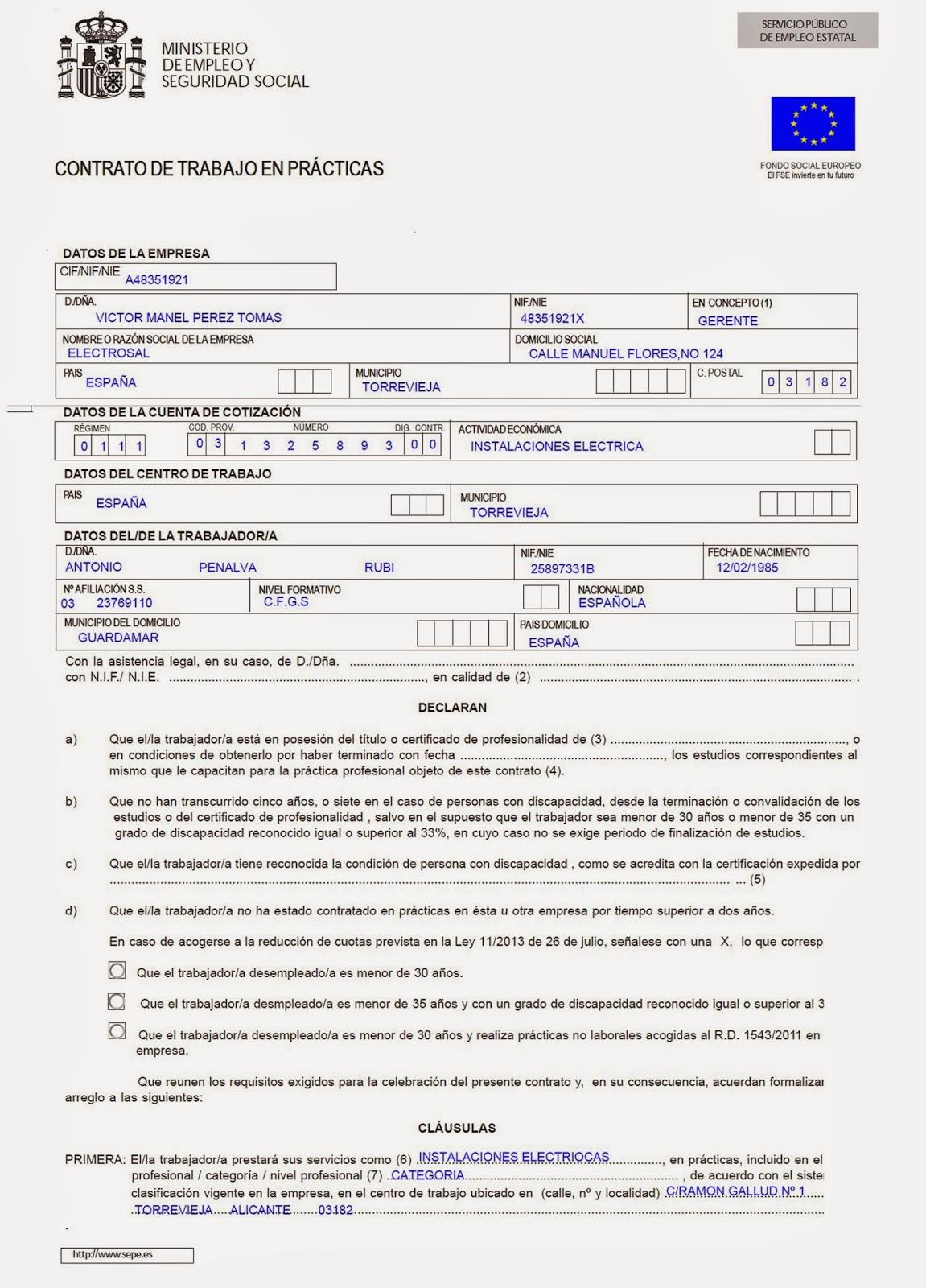 Electro s a l for Modelo contrato empleada de hogar indefinido