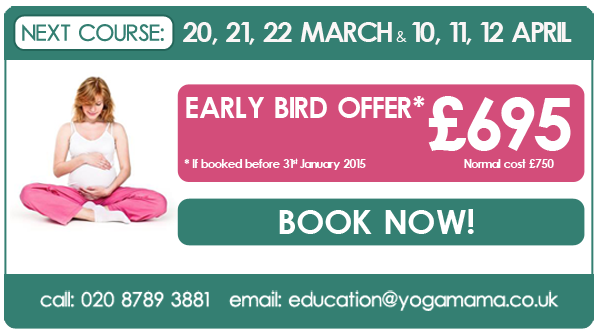 Spring 2015 Pregnancy Yoga Teacher Training with Yoga Mama. Early bird offer: £695, if booked before 31 January 2015. Email education@yogamama.co.uk for an application form.