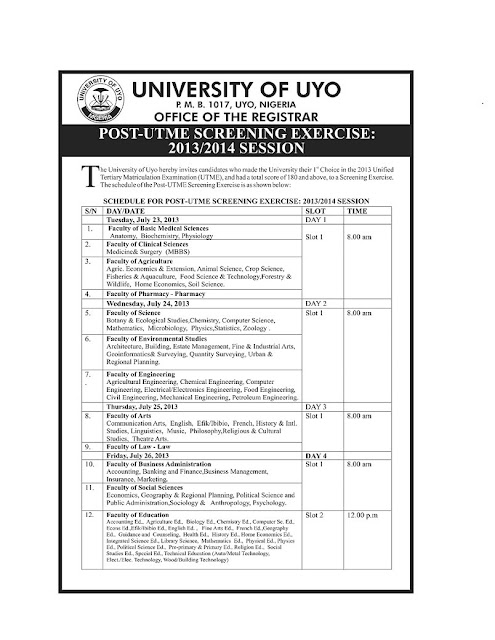 uniuyo aptitude test timetable