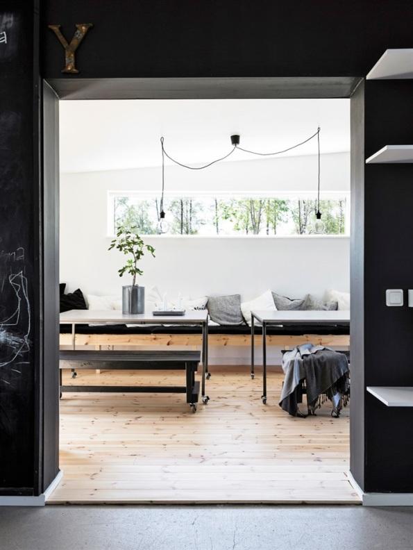 casa nordica de diseño en blancoy negro chic and deco
