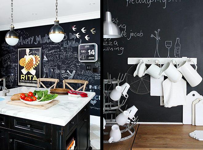 paredes de pizarra en cocina