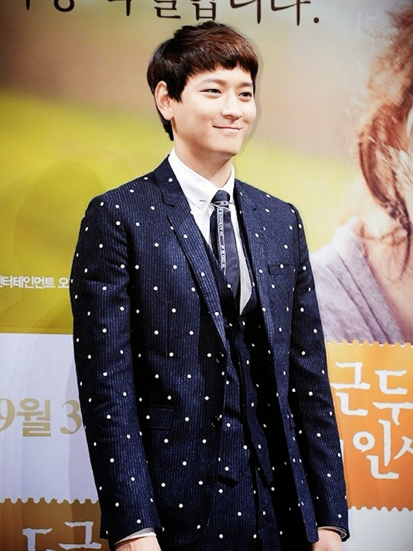 Kang Dong-won in Dior Homme by Kris Van Assche Fall Winter 2014 polka dot embroidered suit - My Palpitating Life Press Conference Seoul South Korea August 2014 / 姜棟元 [강동원] 身穿迪奥洋装亮相影片