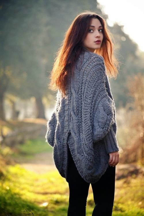 dziany sweter z dwoch kol