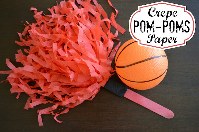DIY crepe paper pom poms for #KettleMadness cheering during college basketball #cbias