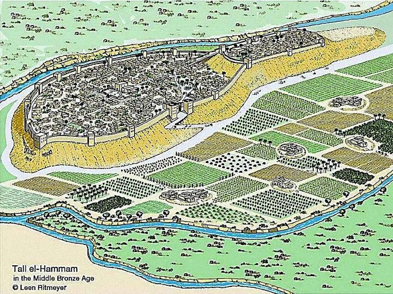 Tall el-Hammam reconstituição artística de como foi Sodoma.