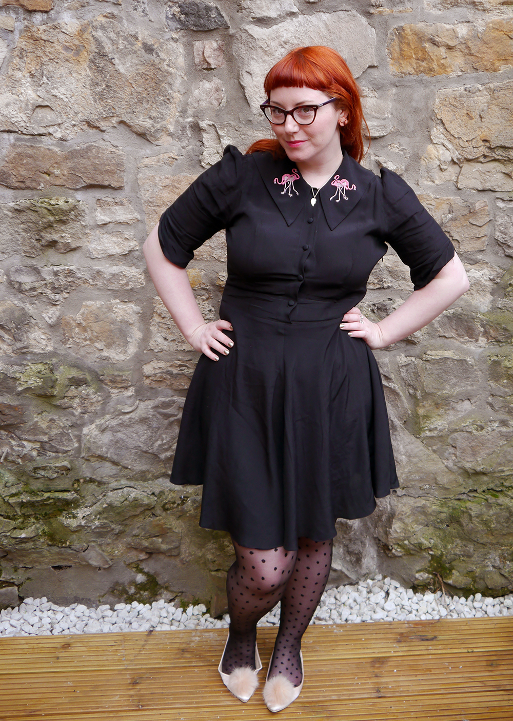 Edinburgh, Scottish bloggers, Metropolitain Fashion Show, Blogger awards, Coco Fennel flamingo dress, Best Witches necklace from Cheap Frills, ASOS pink pom pom shoes, polka dot tights, red head, ginger hair
